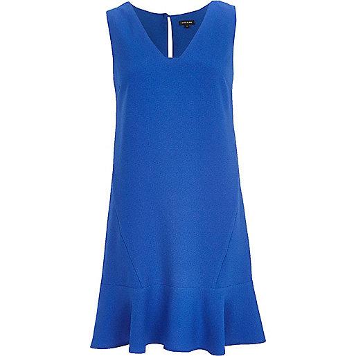 Blue V neck drop waist dress