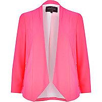 Bright pink open front blazer