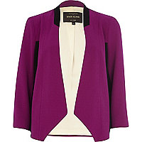 Purple colour block open front blazer