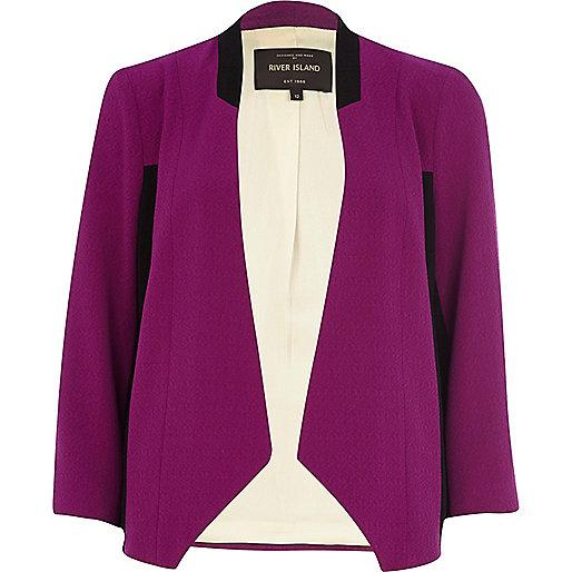Purple colour block open front blazer