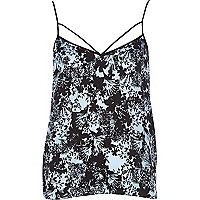 Blue floral print strappy cami top