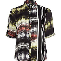 Black mixed abstract print boxy shirt
