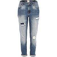 Mid wash ripped Ashley slim boyfriend jeans