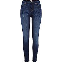 Dark wash distressed Lana superskinny jeans