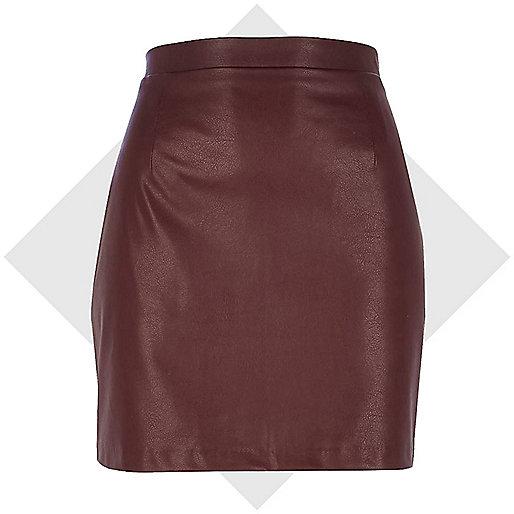 Dark red leather-look mini skirt