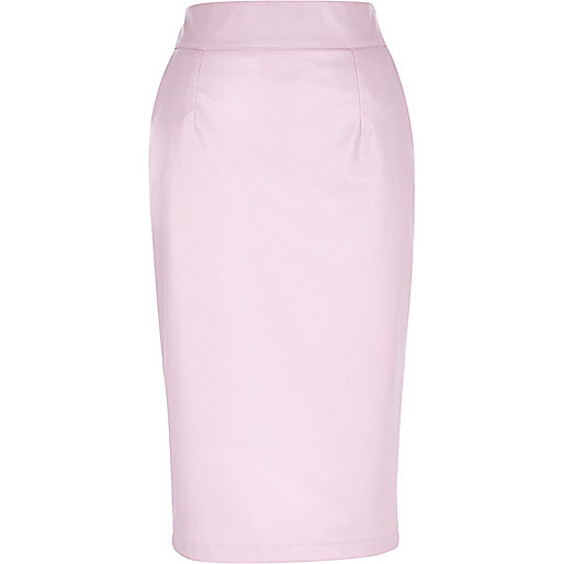 Light pink leather-look pencil skirt