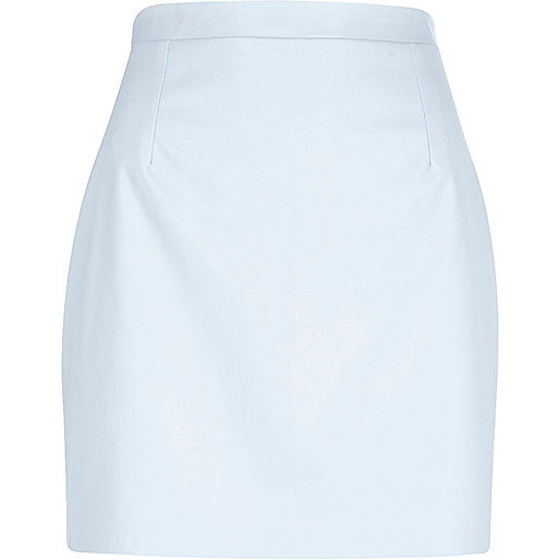 Light blue leather-look mini skirt