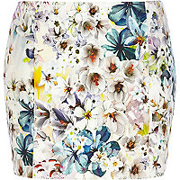 White floral print mini skirt