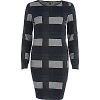 Dark green check long sleeve bodycon dress