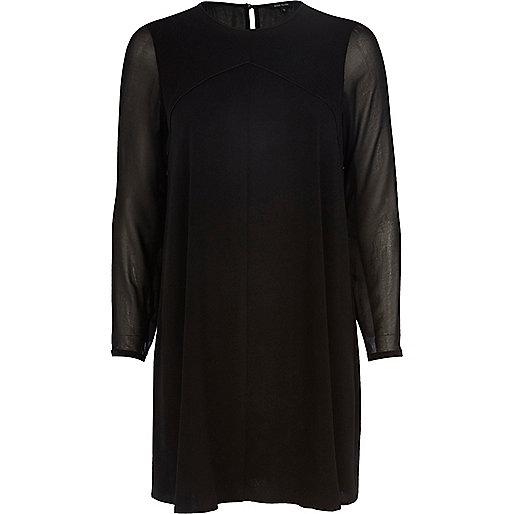 Black chiffon sleeve swing dress