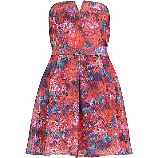 Pink floral print bandeau prom dress