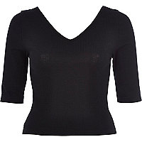 Black rib V neck fitted top