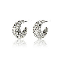 Silver tone encrusted hoop earrings
