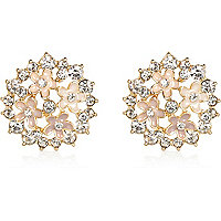 Gold tone clustered flower stud earrings
