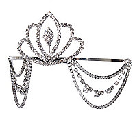Silver tone gem stone tiara