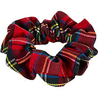 Bright red tartan scrunchie