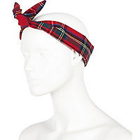 Red tartan wire wrap headband