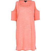 Bright pink burnout cold shoulder tunic