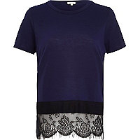 Dark blue lace hem t-shirt