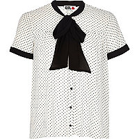 White Chelsea Girl polka dot pussybow blouse