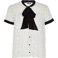 White Chelsea Girl polka dot pussybow blouse
