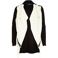Black block zip trim waterfall cardigan
