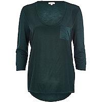 Dark green woven front t-shirt