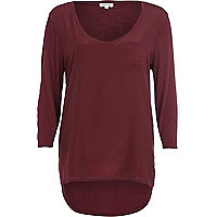 Dark red woven front t-shirt