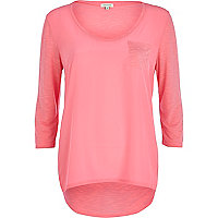 Light pink woven front t-shirt