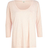 Light pink low scoop t-shirt