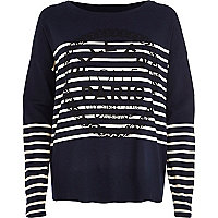 Navy stripe Paris print slouchy top