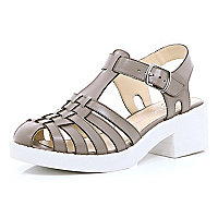 Grey strappy block heel sandals
