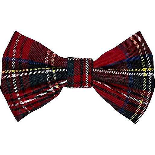 Red tartan hair bow