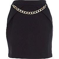 Black chain trim mini skirt