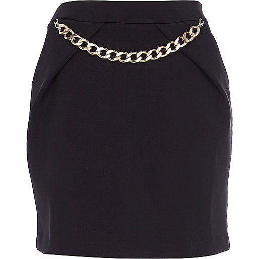 Black chain trim mini skirt
