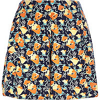 Navy floral high waisted shorts