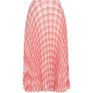 Pink check pleated midi skirt