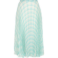 Light green check pleated midi skirt