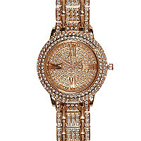 Rose gold tone diamante bracelet watch