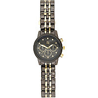 Gunmetal tone two-tone bracelet watch