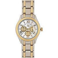 Gold tone two-tone bracelet watch