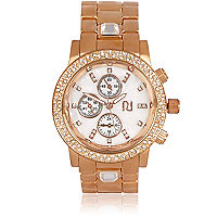 Rose gold tone gem stone bracelet watch