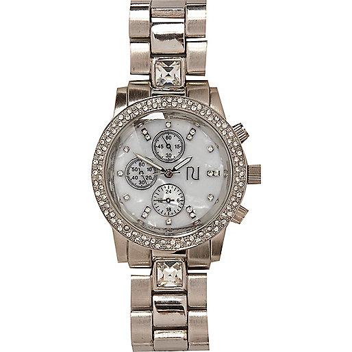 Silver tone gemstone bracelet watch
