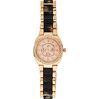Gold tone tortoise shell bracelet watch