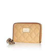 Tan quilted zip around purse