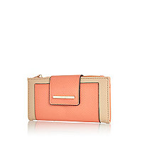Coral colour block tab top purse