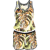 Green palm leaf print casual playsuit