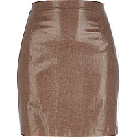 Tan snake textured mini skirt