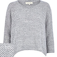 Grey boucle slouchy jumper