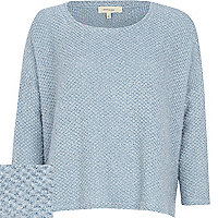 Light blue boucle slouchy jumper